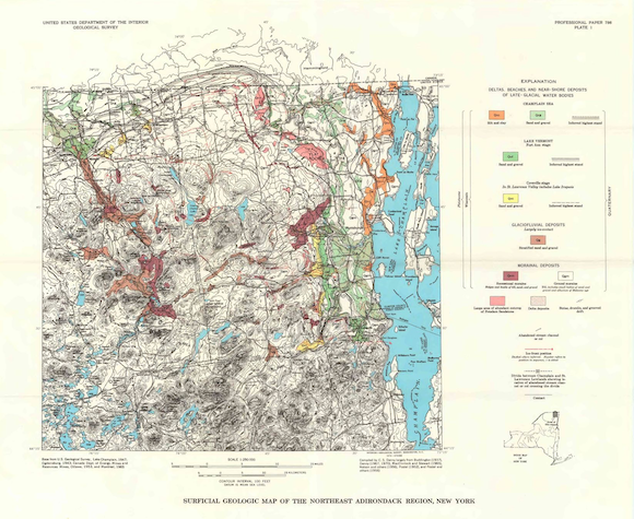 Surficial geologic map of the northeast Adirondack region